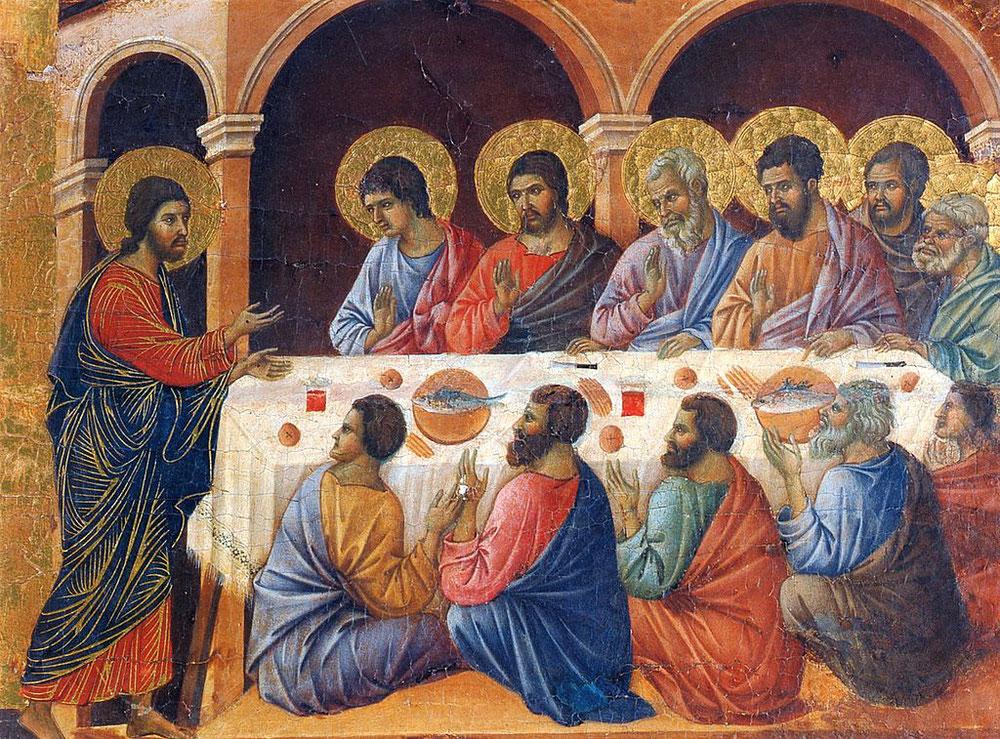 ドゥッチョ・ディ・ブオニンセーニャ「使徒たちの食卓に現れるキリスト」、1308年、ドゥオーモ付属美術館 (シエナ)所蔵