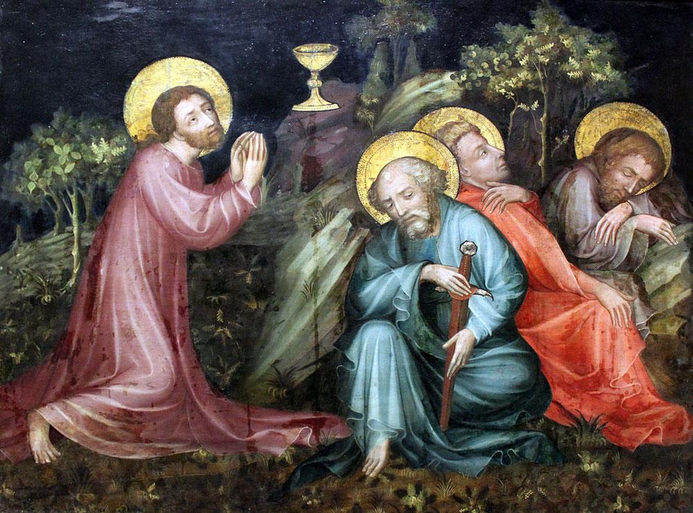 ニュルンベルクのおとめの祭壇画のマイスター「オリーブの園のキリスト」、1425年、シュテーデル美術館