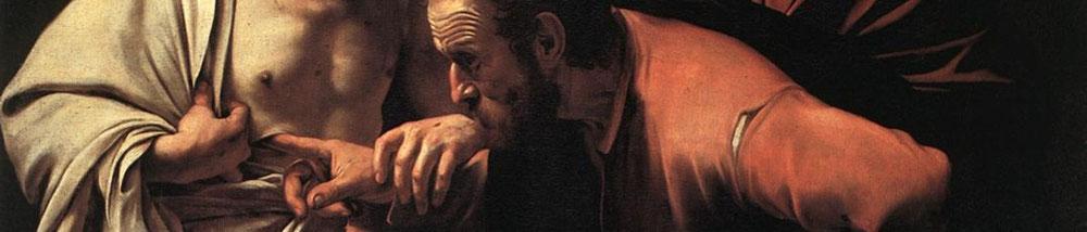 ミケランジェロ・メリシ・ダ・カラヴァッジョ「聖トマスの不信」、1601―2年、サンスーシ絵画館所蔵