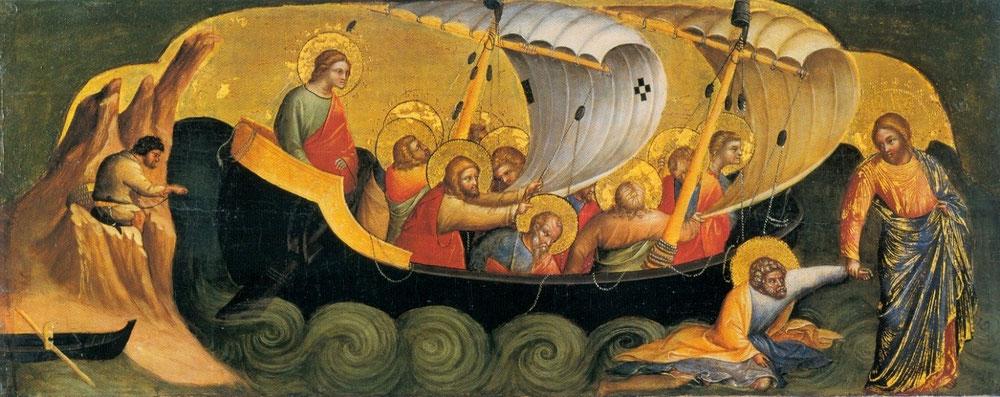 ロレンツォ・ヴェネツィアーノ「溺れそうになるペトロを救助するキリスト」、1370年、ベルリン美術館