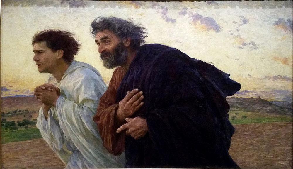 ウジェーヌ・ビュルナン「ヨハネとペトロは復活の朝に墓に急ぐ」、1898年、オルセー美術館所蔵