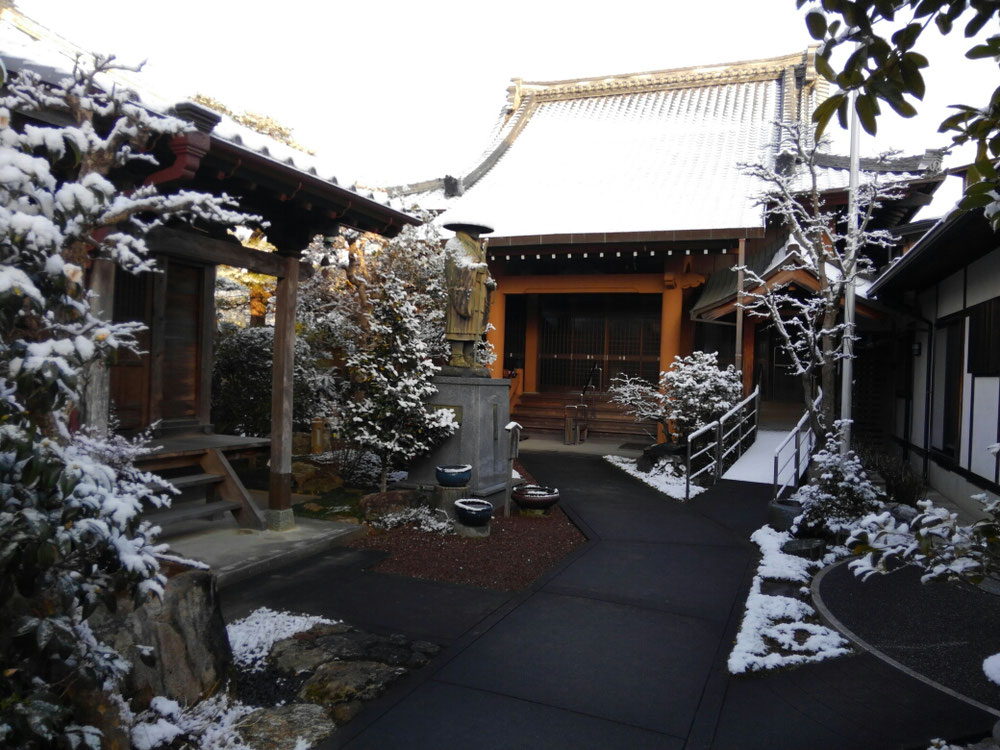 お寺の雪化粧