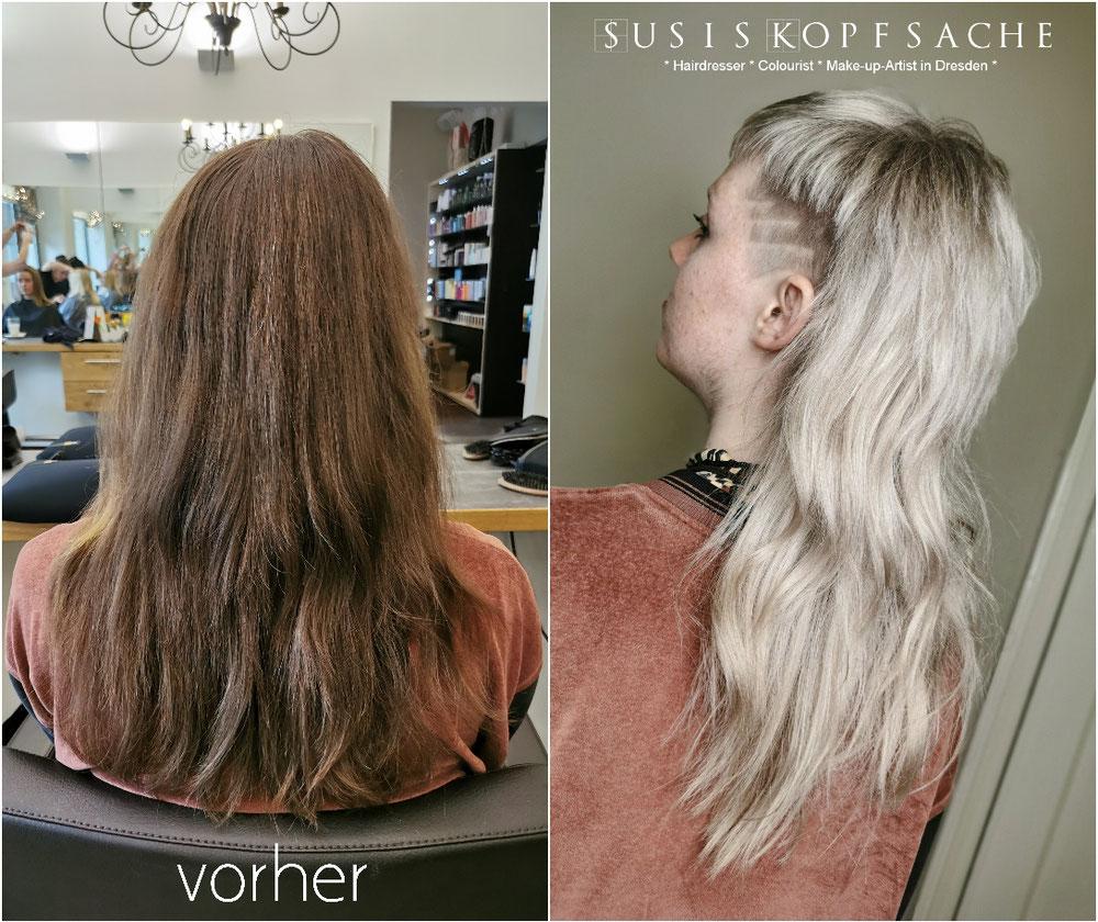 Vorher und nach der Farbbehandlung, dem Schnitt & Styling