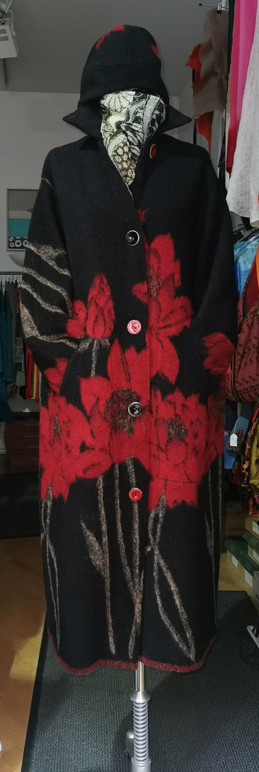 Mantel Periquita Rot Schwarz Unikat