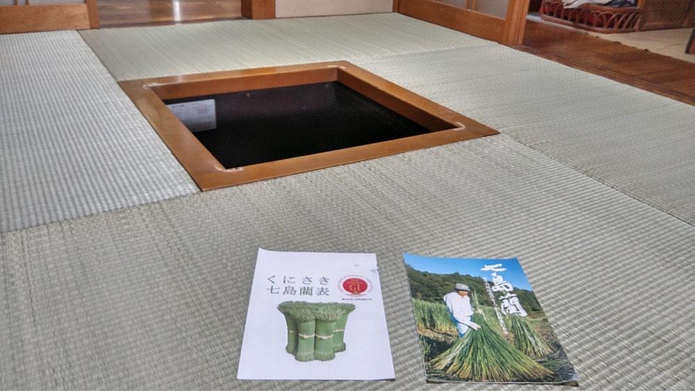大分県国東半島産七島藺を使用して、縁無し畳の表替えをしました。