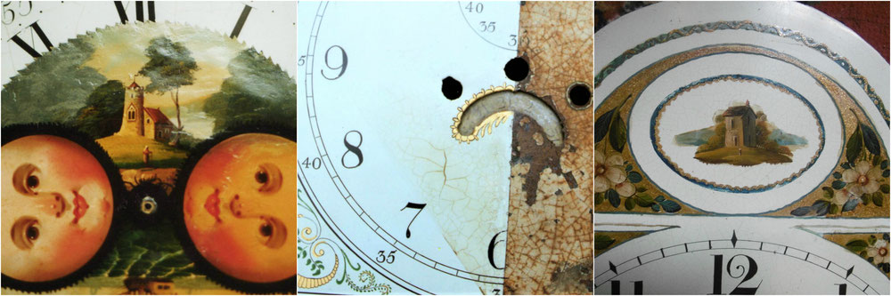 clock dial restoration, moon dial, before and after, painted landscapes, kbmorgan