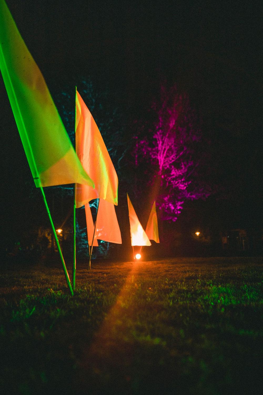"""""""Fähnchen im Wind """" Stoff Fahne mit LED Beleuchtung"""