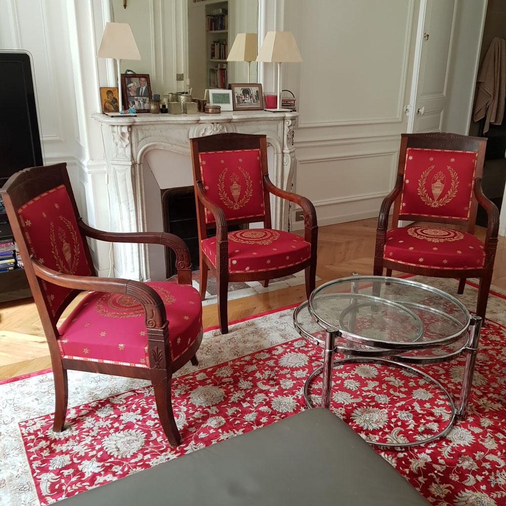 Réfection complète fauteuils empire 75016