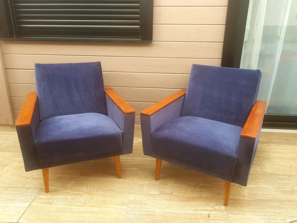 Réfection de fauteuils scandinaves velour casal tobliac