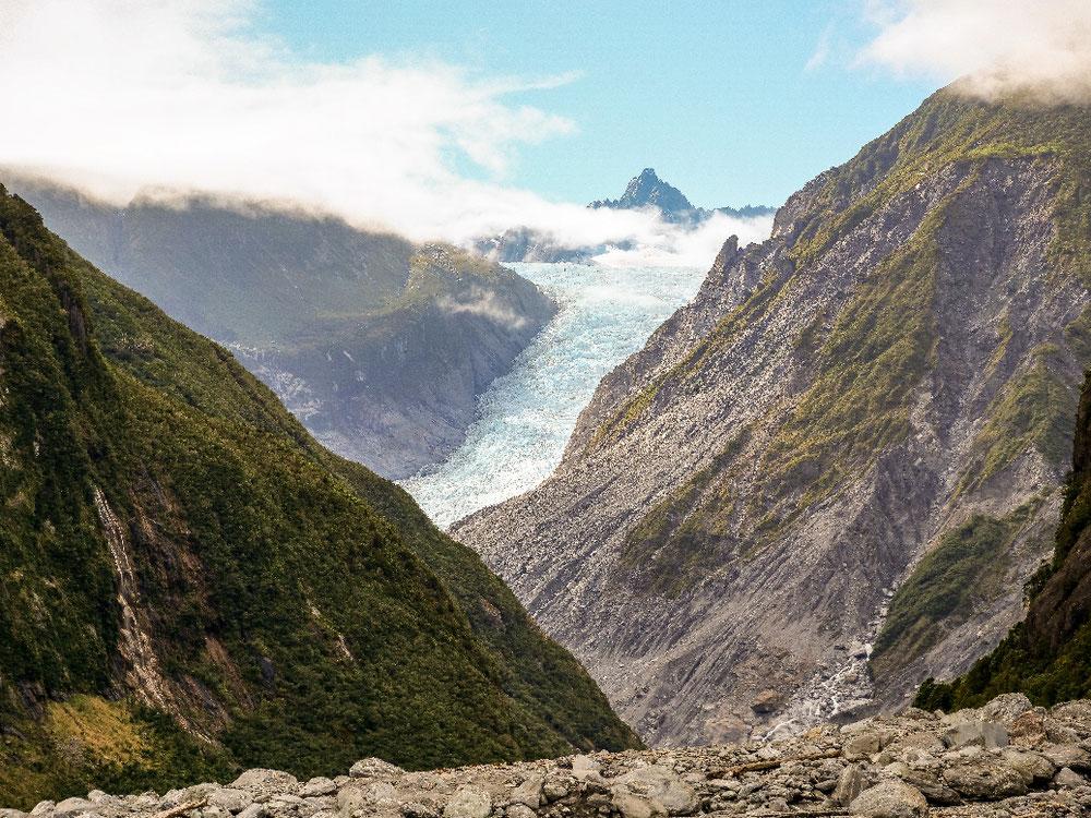 Mit viel Zoom, da ist der Gletscher