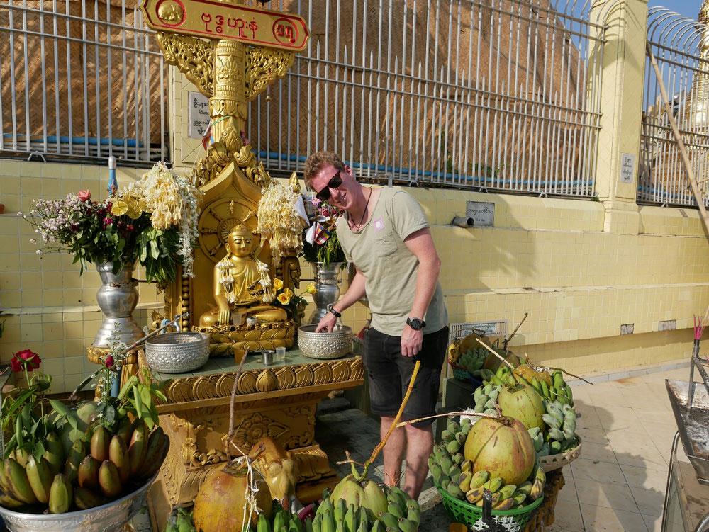 Das Obst wurde geopfert - wird bestimmt von den Mönchen gegessen
