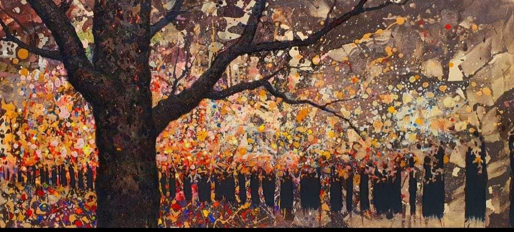 Exaltación al otoño. Acrílico sobre madera.  120x60cm.
