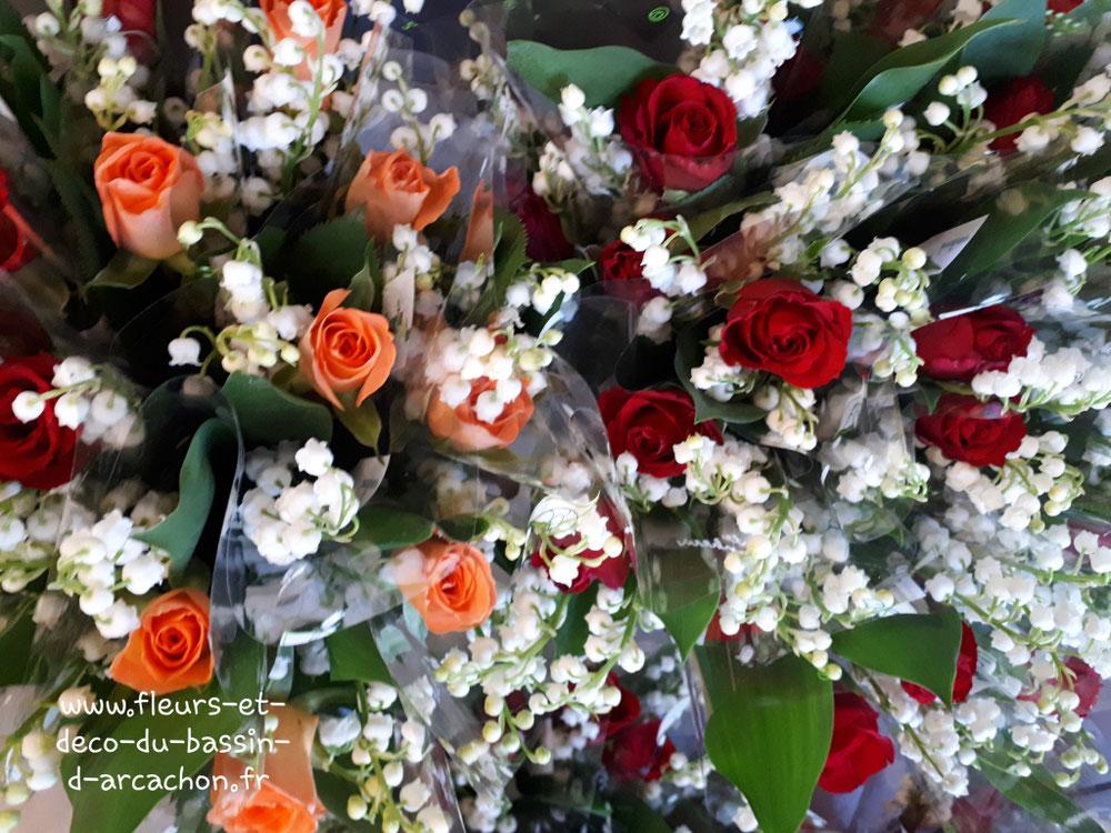 Bouquet 3 brins de muguet  avec 1 rose