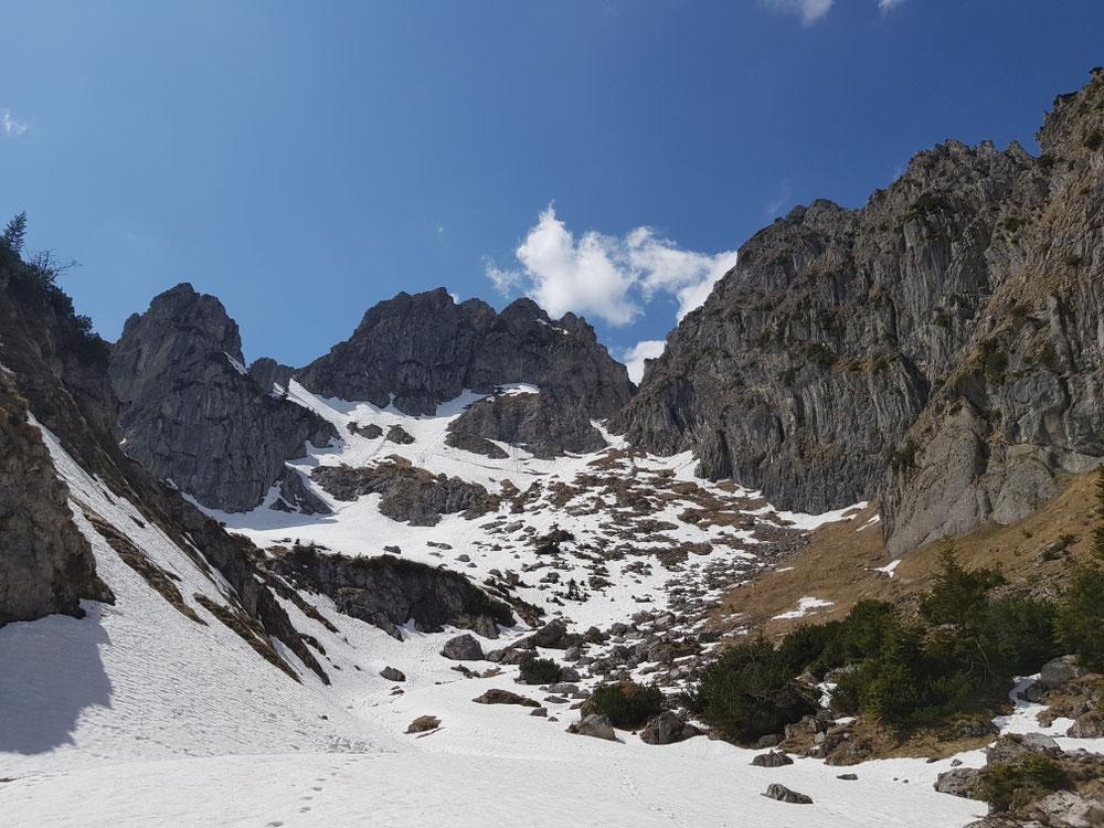 Rückblick vom Wintertal zum Gipfel