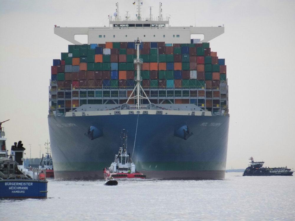 Der momentan größte Containerfrachter der Welt....