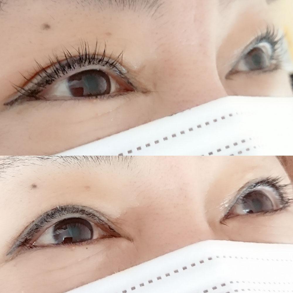 before→afterまつげカラー&まつげカール