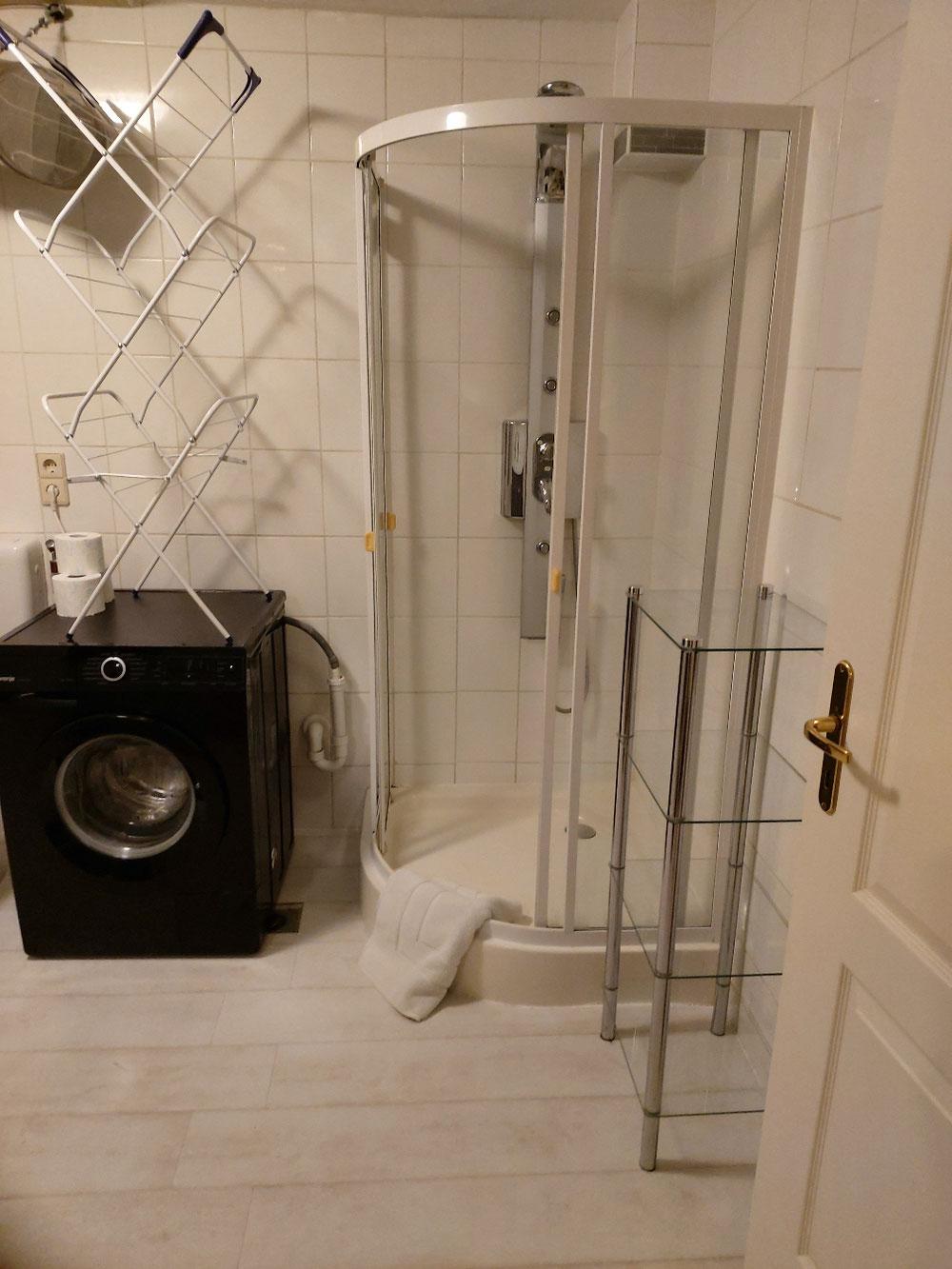 Dusche im Badezimmer und Waschmaschine
