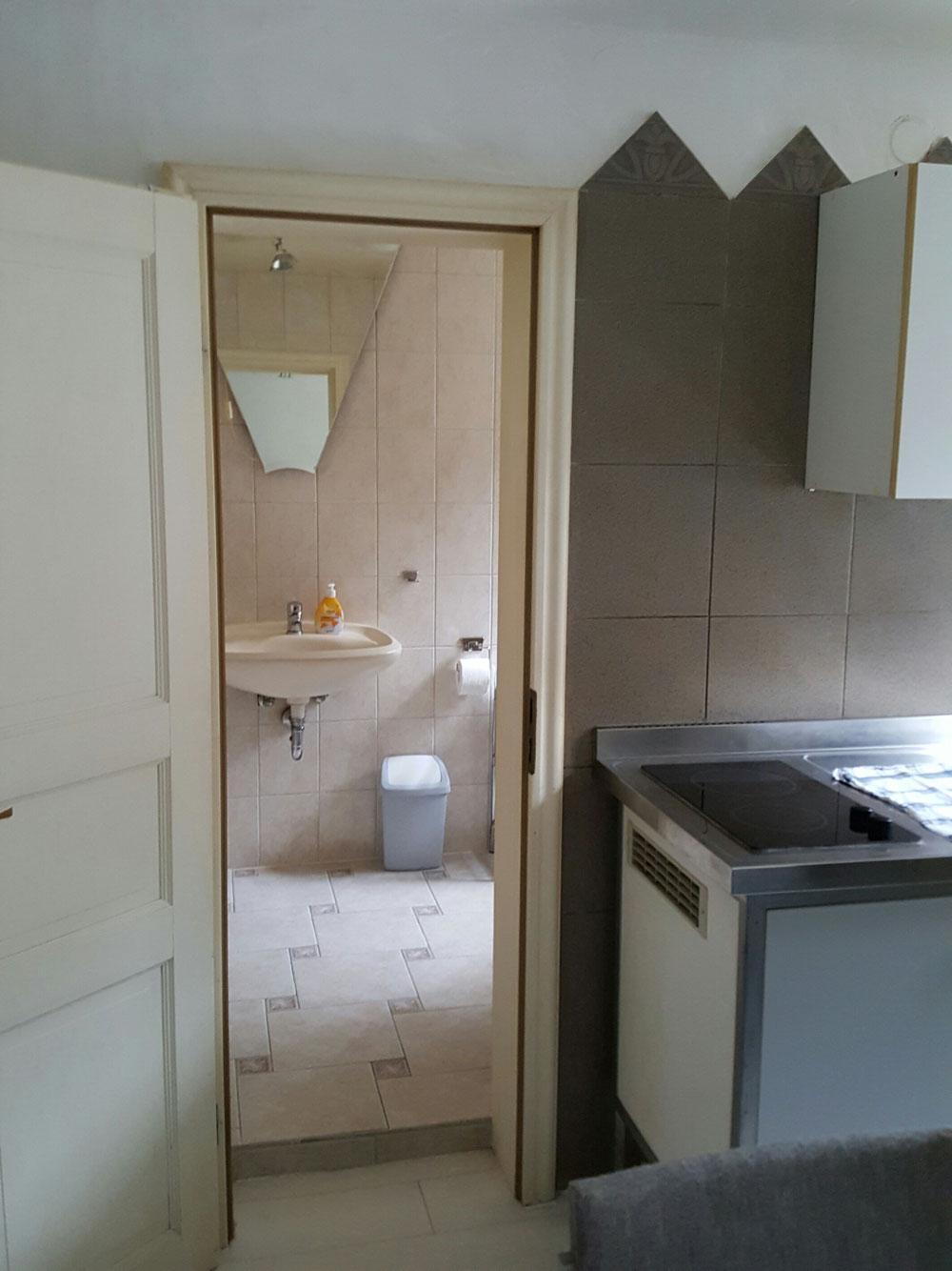 Blick in das Badezimmer mit Dusche, Waschbecken und WC