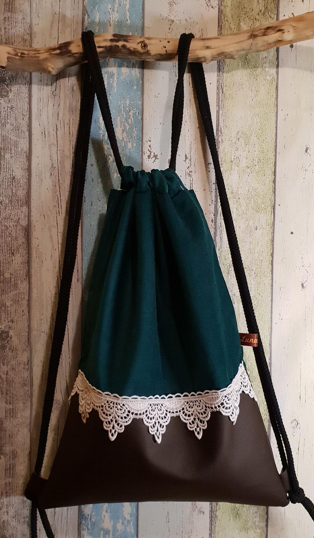 Feincord smaragdgrün/Leder braun