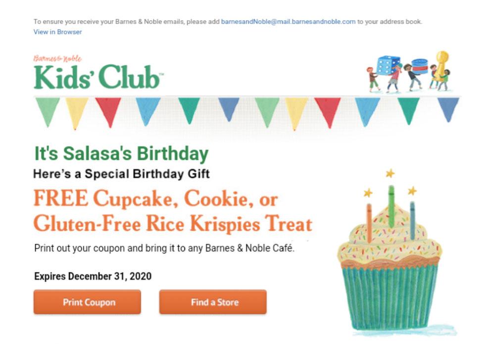 長女への誕生日特典メール✨