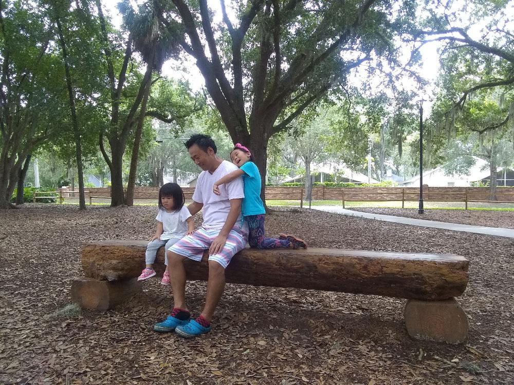 公園のオシャレベンチも全て木製