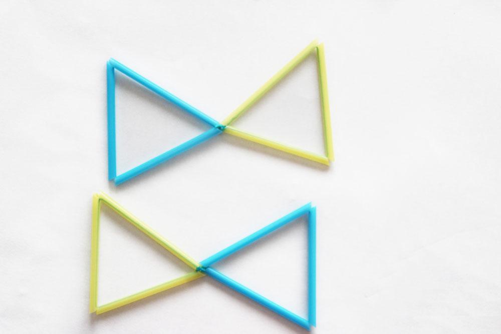 三角同士を結びちょうちょをつくります