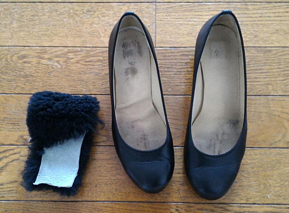 画像が汚くてすみません…左側が磨いた靴です