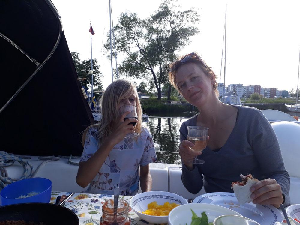 Enjoying the food and sun