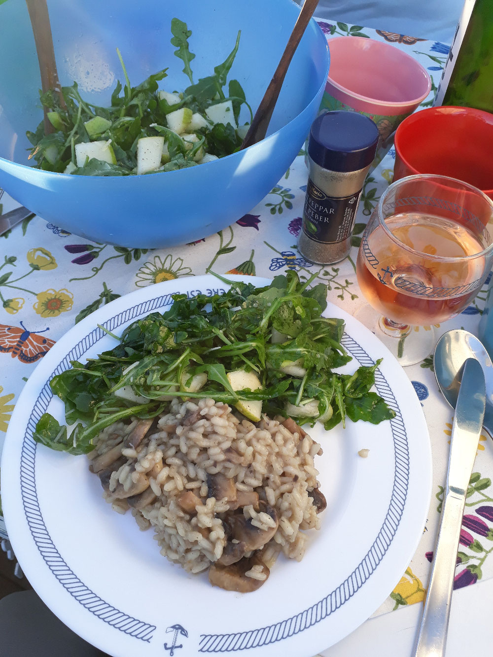 Mushroom risotto with ruccola - thanks Anna!