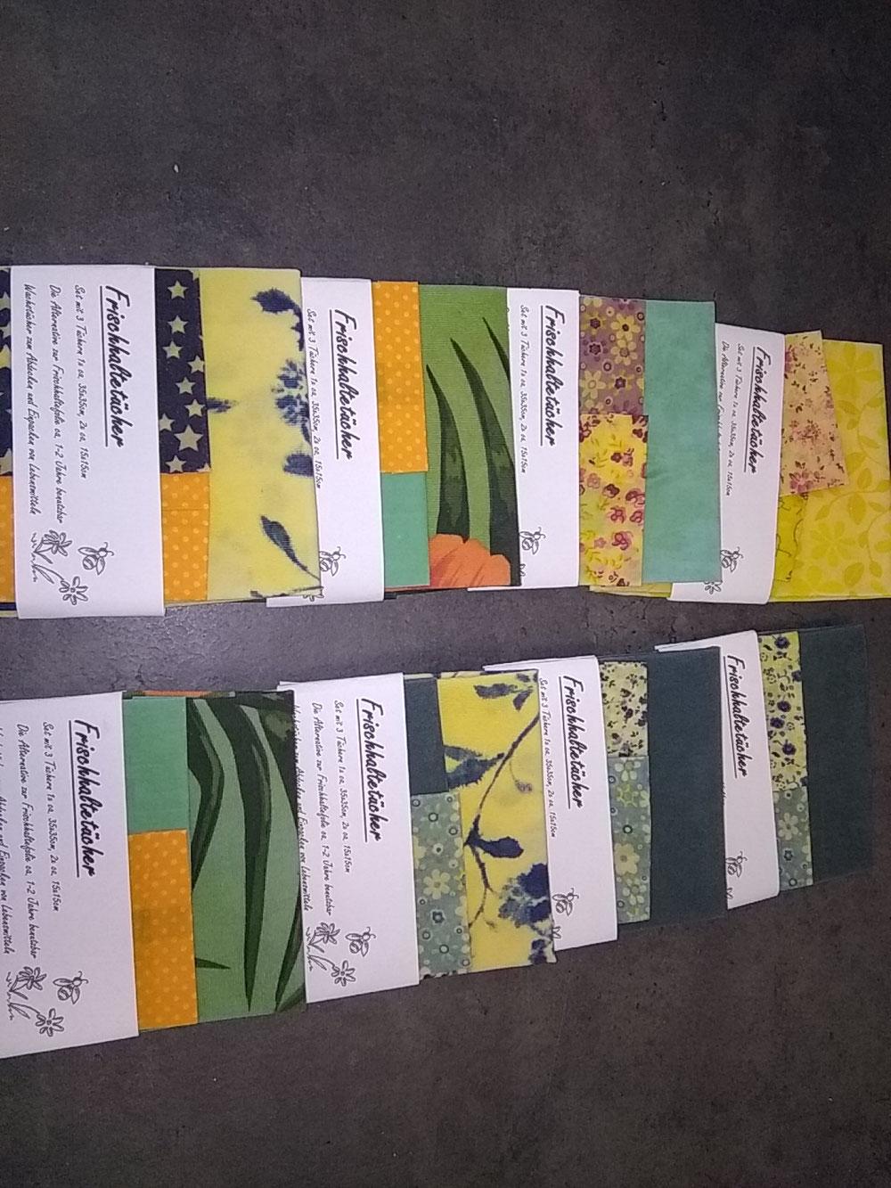 Bienenwachstücher (3-er Set 12 €/Set rund 10 €)