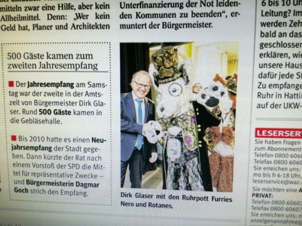 Zeitungsausschnitt vom Jahresempfang Hattingen 2017 mit Nero und Rotanes und dem Bürgermeister Dirk Glaser