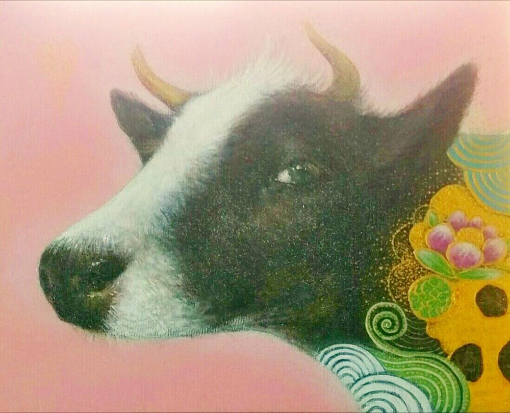 『無病息災を祈る牛…松虫姫の伝説』canvasF3