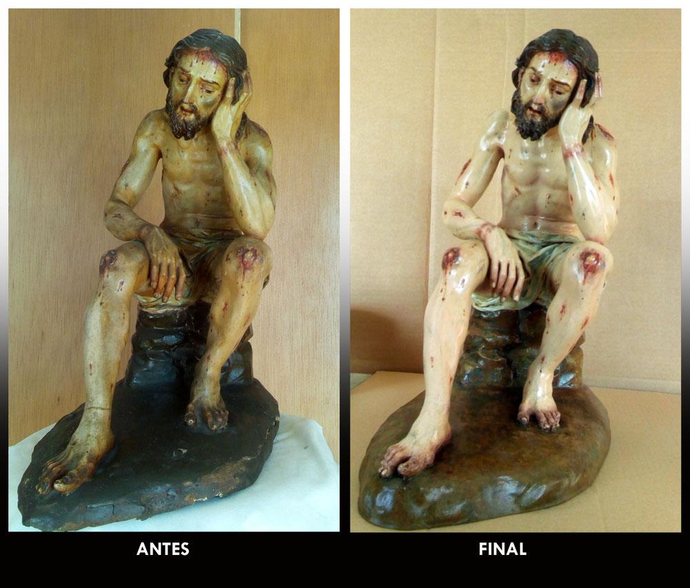 Restauración Cristo de la Humildad y Paciencia. Villanueva del Ariscal (Sevilla).