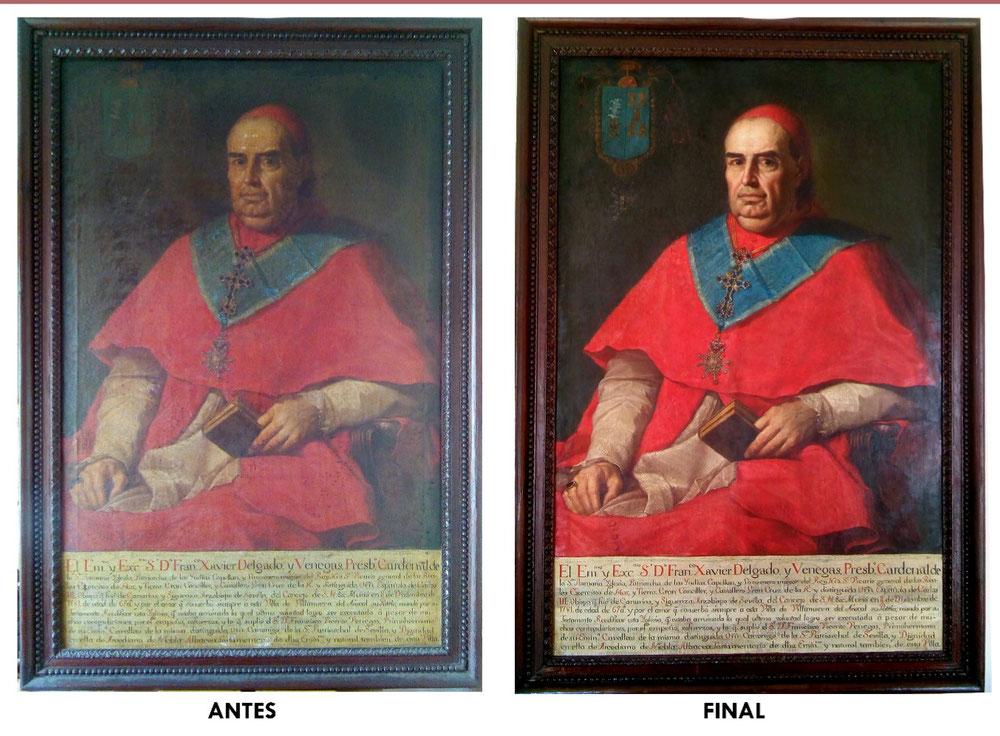 Restauración óleo Cardenal Delgado. S.XVIII.