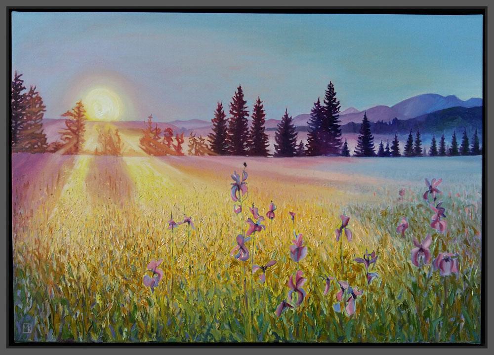 Sonnenaufgang im Murnauer Moos, 100 x 70cm