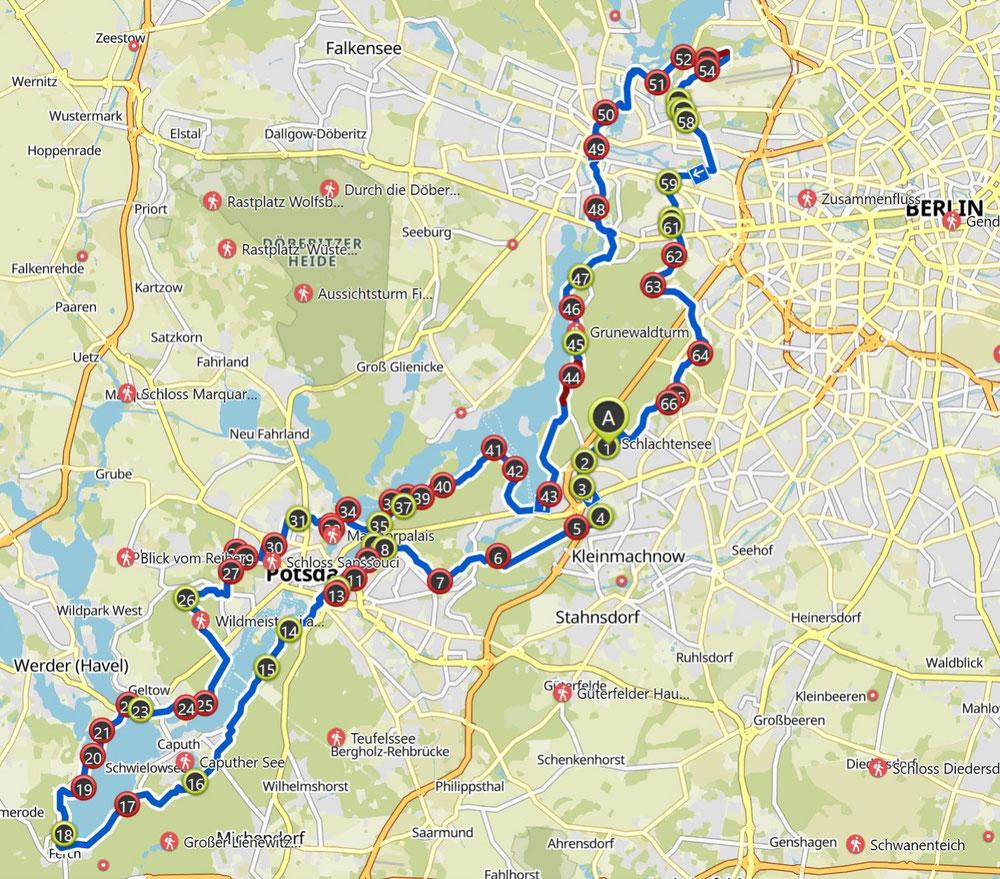 Rundkurs von Berlin 120km. Die offizielle Route wird 2 Wochen vor dem Event bekanntgegeben.