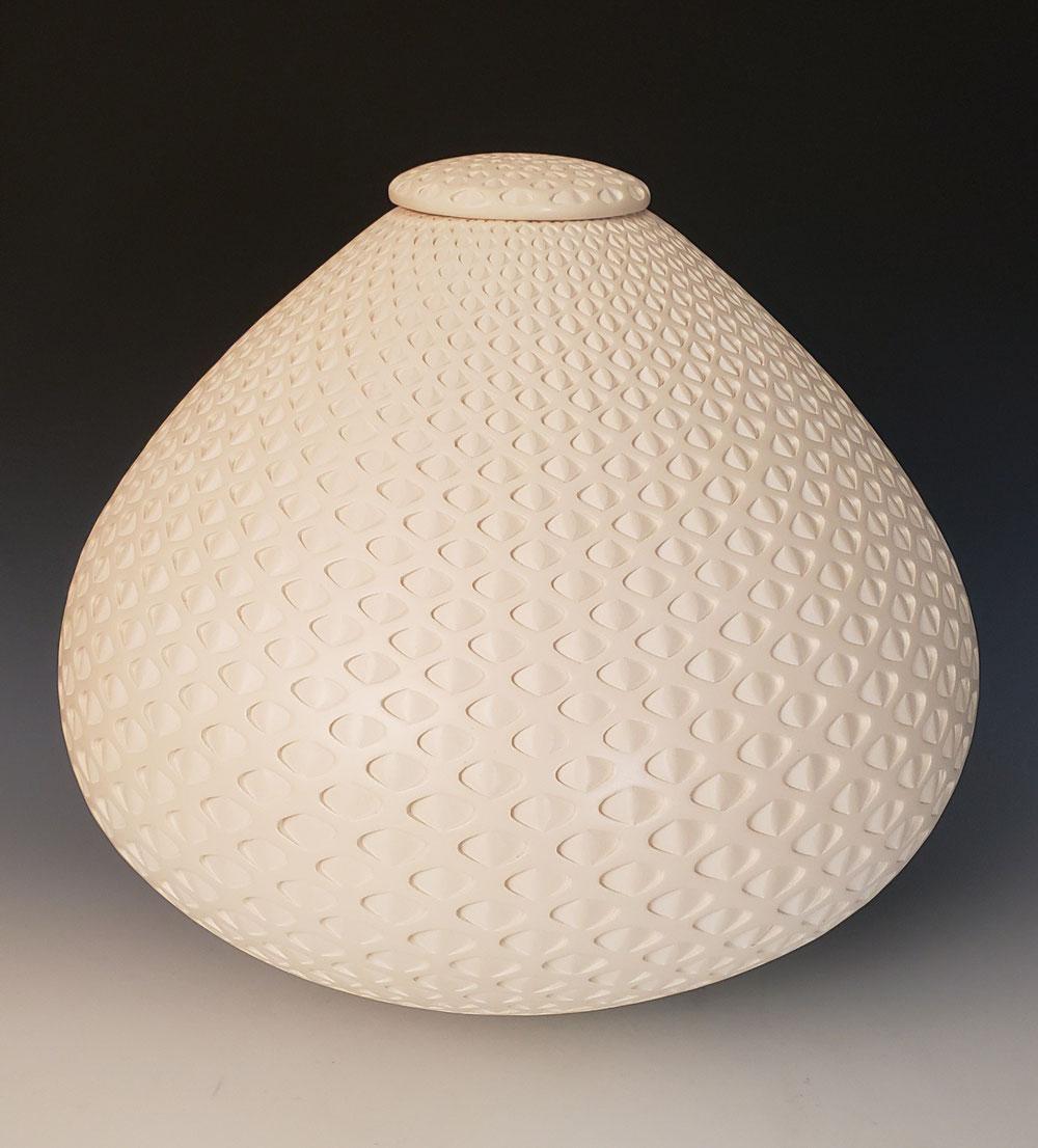 Lidded oval urn 12x14. $2500