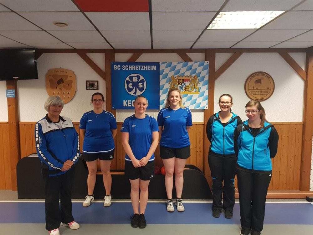 1. Platz Christina Bischof/ Marion Frey (BCS, Mitte), 2. Platz Angela Hölzle/Adelheid Grauer (BCS, links), 3. Platz Katrin Gulde/Melanie Steinle (Nördlingen, rechts)