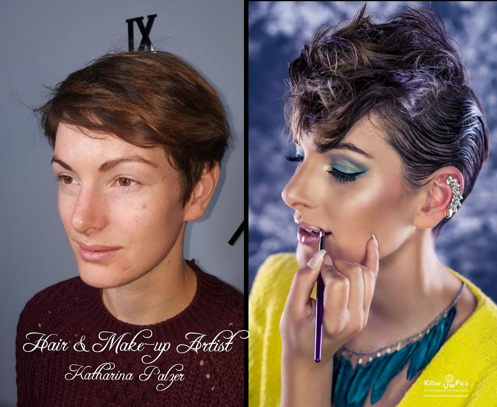 Vorher / Nachher Styling: Hair & Make-up Artist Katharina Palzer