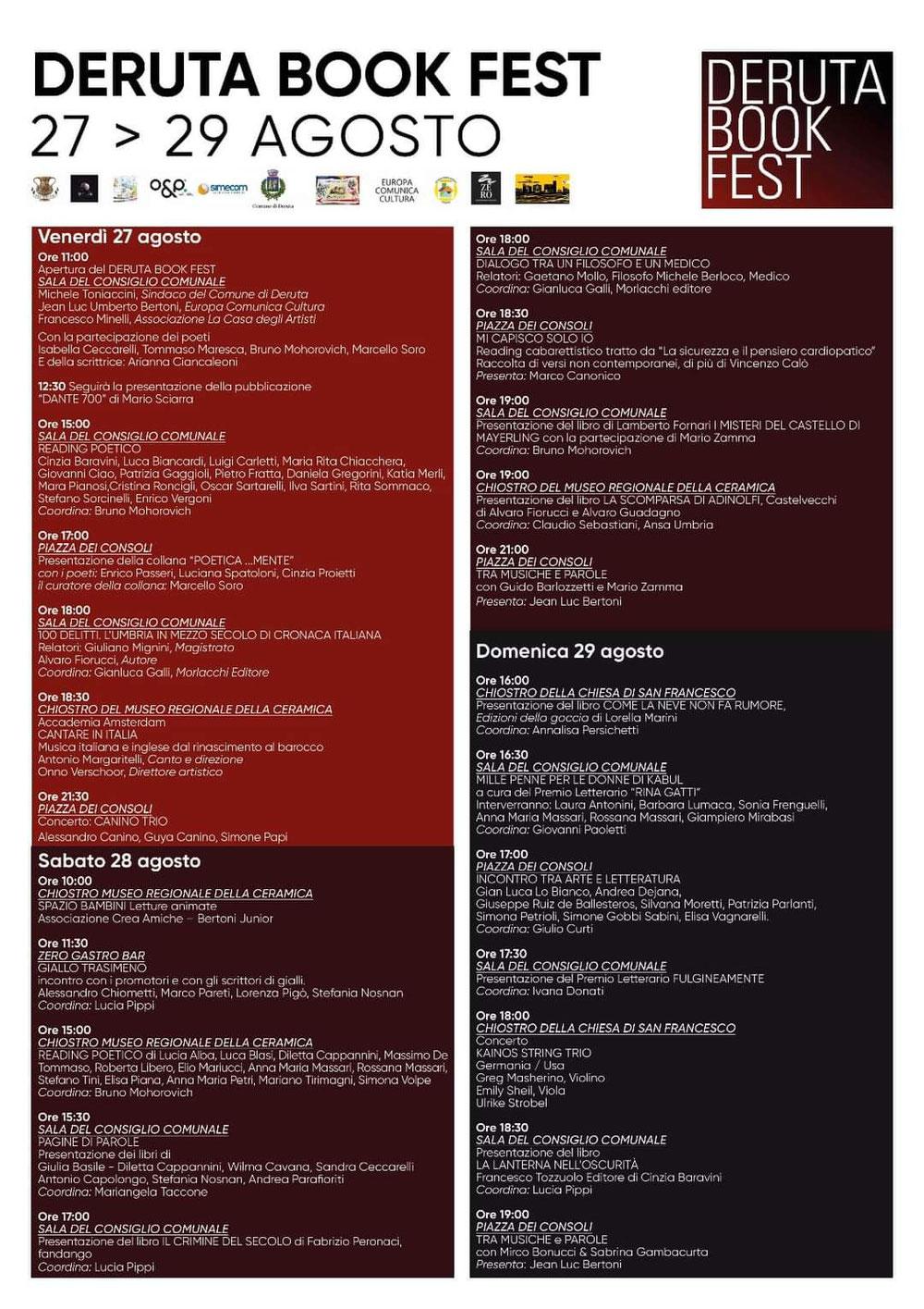 Deruta Book Fest 27-29 agosto 2021
