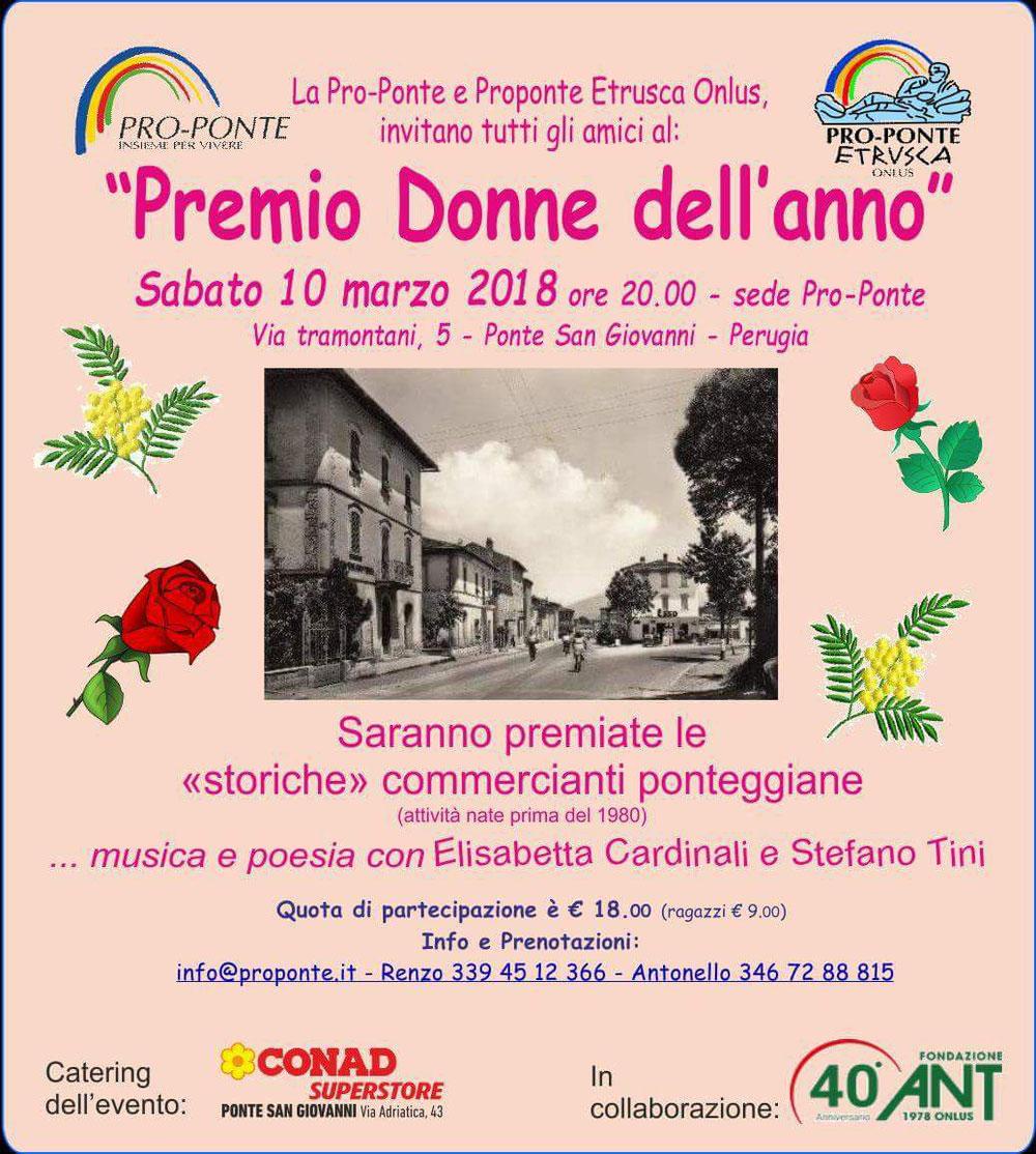 """Pro Ponte """"Premio Donne dell'anno"""" - sabato 10 marzo 2018 - Ponte S. Giovanni, Perugia, Italy"""