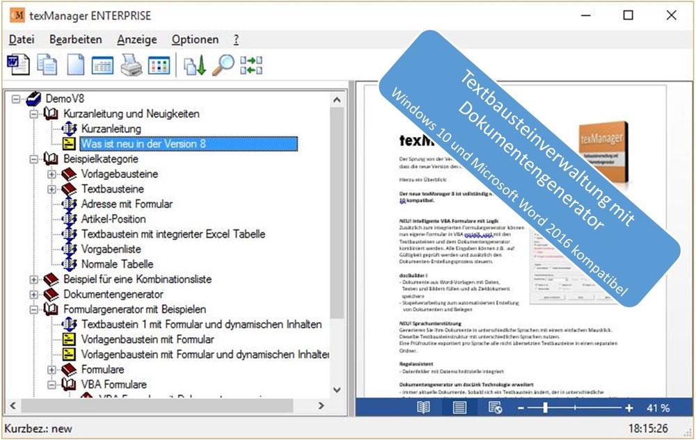 Textbausteinmanager mit dem man automatisiert Dokumente erstellen kann