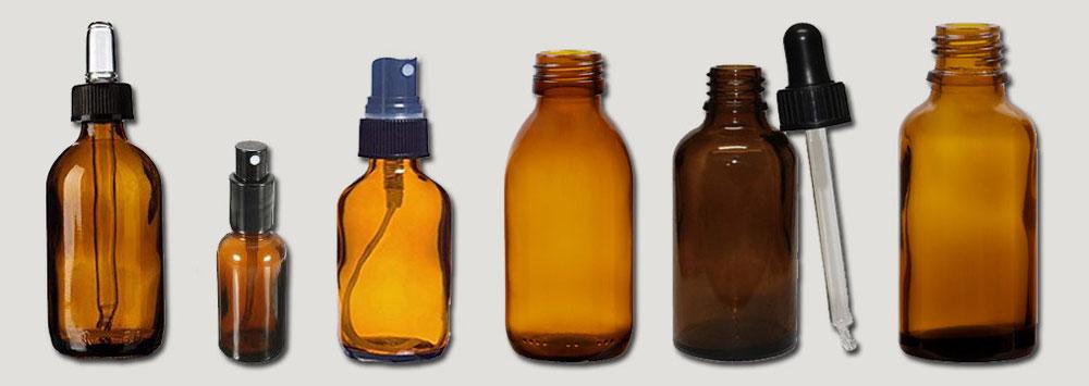 Boccette in vetro ambrato per Propoli con tappo contagocce e tappo spray