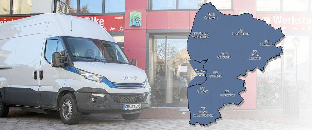 Liefergebiet: Landkreis Cuxhaven inkl. Bremerhaven (Dorum, Wremen, Imsum, Hemmoor, Otterndorf, Beverstedt, Loxstedt, Hagen, Lamstedt, Geestland, Langen, Spaden)
