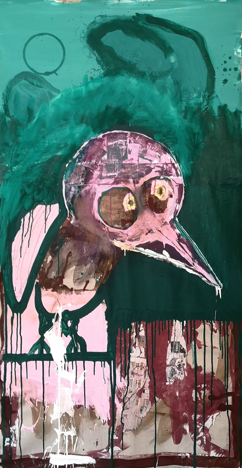 'Down the hill with a crazy bird' - Acrylic and paper on linen canvas - 150x80cm - 2021