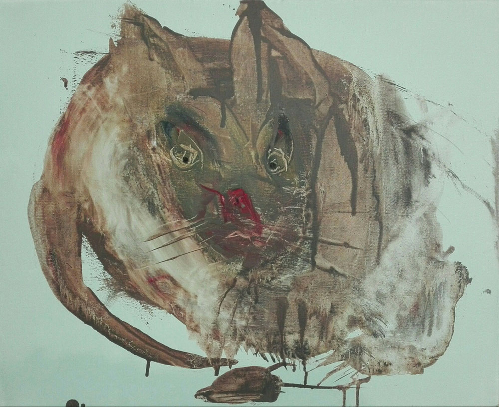 SOLD - «MUDDY CAT» - Oil on linen canvas - 38x46 cm - 2020