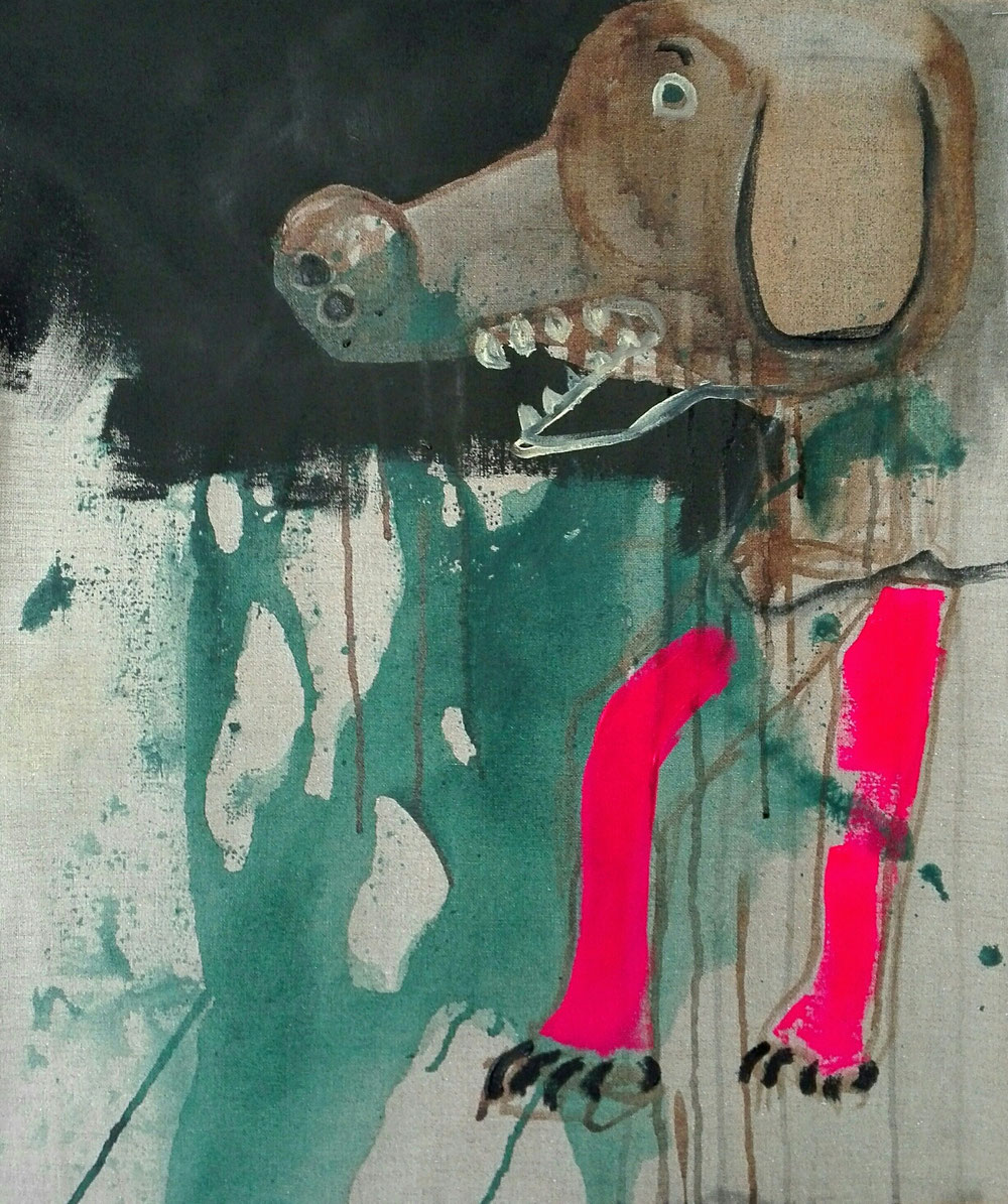 SOLD - 'THE DOG' Ink and acrylic on canvas - 2020 - 52x61cm