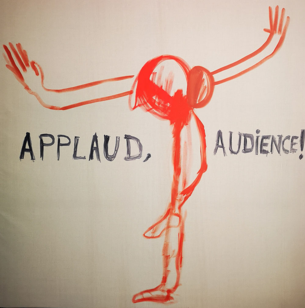 SOLD - 'Applaud, audience'- Oil on natural linen canvas - 200x200cm - 2020