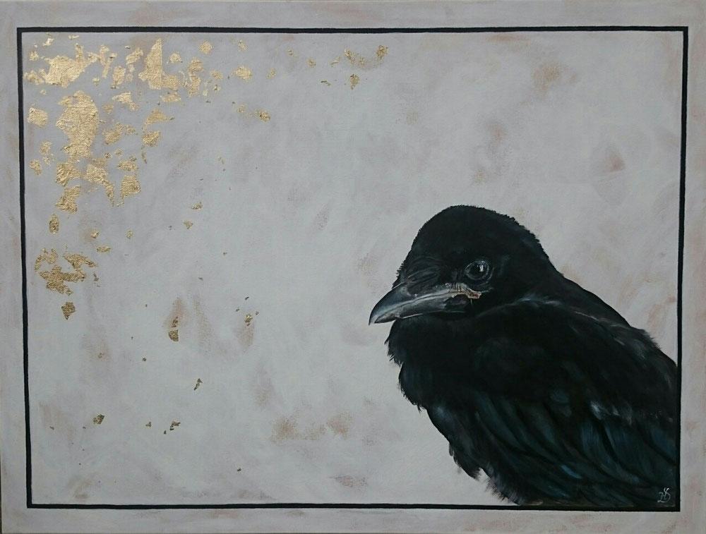Krähe 60 x 80 cm mit Blattmetall und Acrylfarben