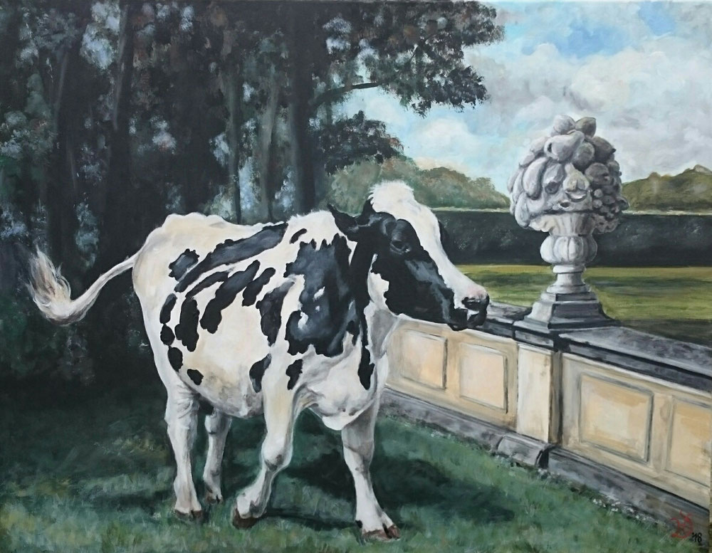 "90 x 70 cm ""Die Schlossgartenkuh"""